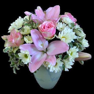 Svetloružová kytica s ružovými ľaliami a ružami