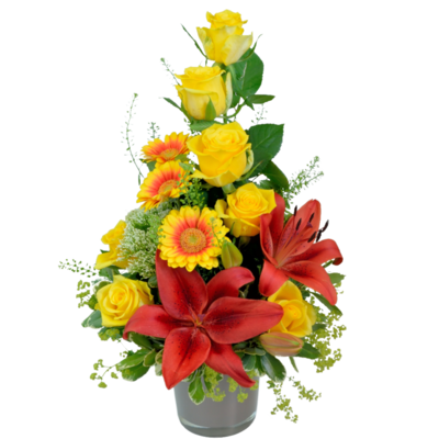 Kytica žltých ruží s červenou ľaliou
