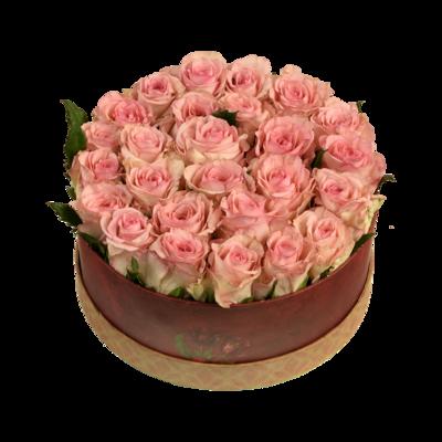 Ružové ruže v darčekovej krabici