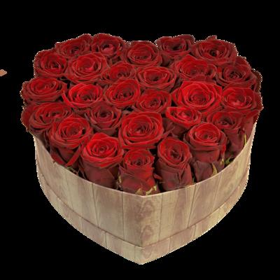 Srdce z červených ruží
