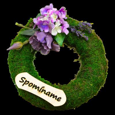 Dušičkový veniec s levanduľovými kvetmi