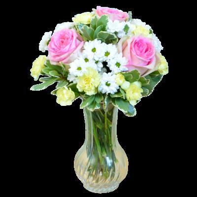 Romantická kytica z ružových ruží