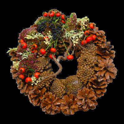 Šiškový venček s jesennými plodmi
