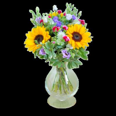 Kytica zo záhradných kvetov a slnečníc