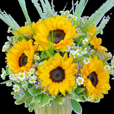 Kytica poľných kvetov so slnečnicami