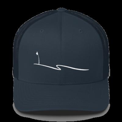 JKD Swoosh - Trucker Hat (White on Navy)