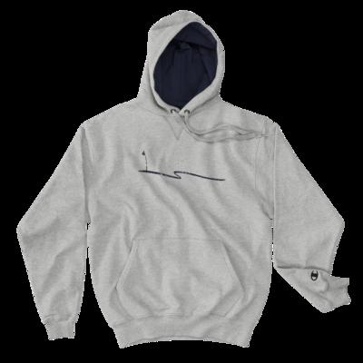 JKD Swoosh Grunge - MEN'S Champion Hoodie (Navy on Gray)