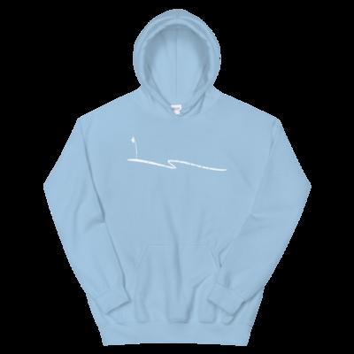 JKD Swoosh Grunge - Unisex Hoodie (White on Light Blue)