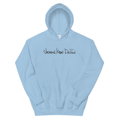 JKD Handwritten - Unisex Hoodie (Gray on Light Blue)