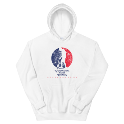 Professional Paint Gunners Grunge - Unisex Hoodie (Blue/Red on White)