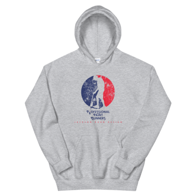 Professional Paint Gunners - Unisex Hoodie (Blue/Red on Sport Gray)