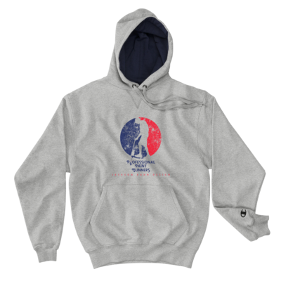 Professional Paint Gunners - MEN'S Champion Hoodie (Blue/Red on Gray)