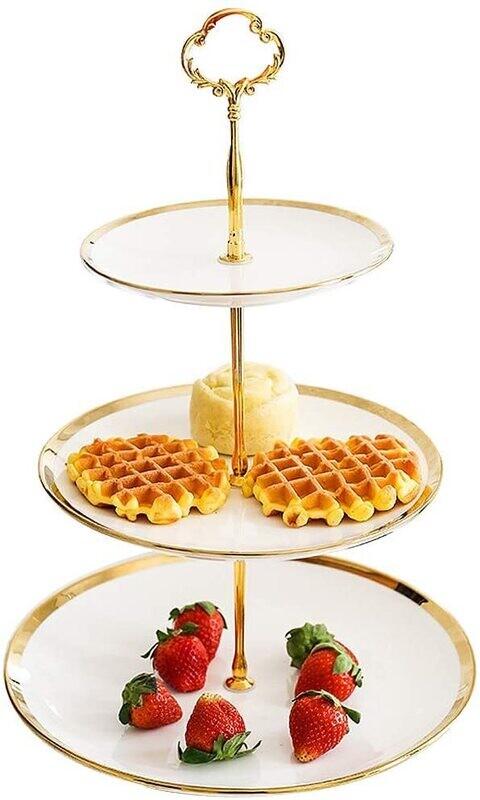 Cara Gold 3 tier Dessert Tray