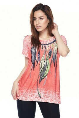 PLUS  Rhinestone feather print