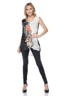 plus sleeveless rhinestone print