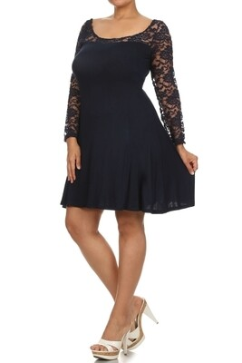 PLUS Lace flare dress     NAVY