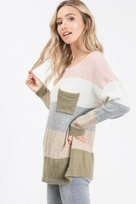 MULTI STRIPED SWEATER WITH FRONT POCKET