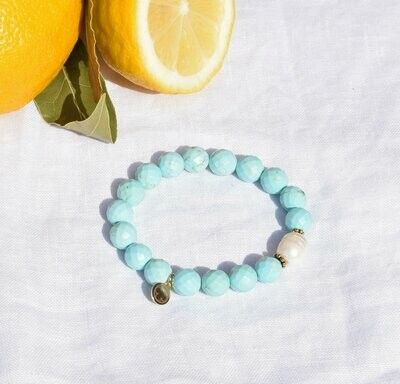 Light Turquoise Magnesite with Freshwater Pearl