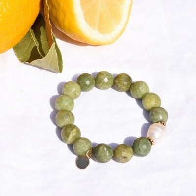 Green Garnet with Freshwater Pearl