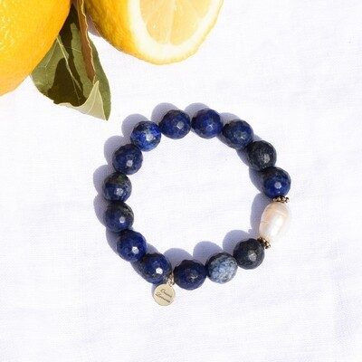 Lapis with Freshwater Pearl