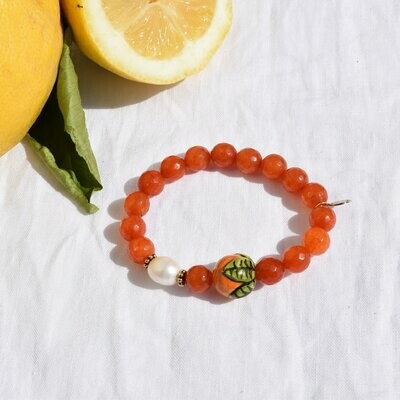 Orange Jade with Handpainted Orange