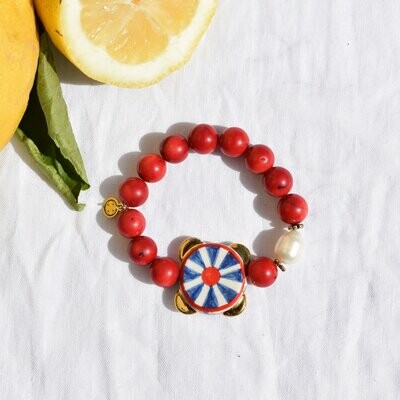 Red Coral with Handpainted Tambourine
