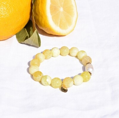 Yellow Agate with Freshwater Pearl