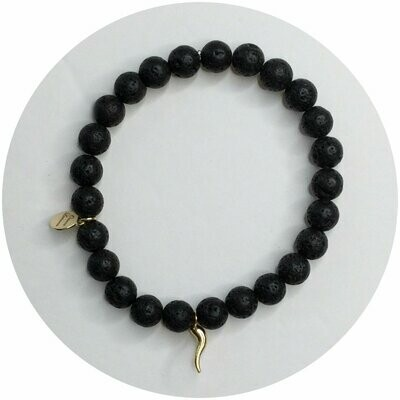 Mens Black Lava with Horn
