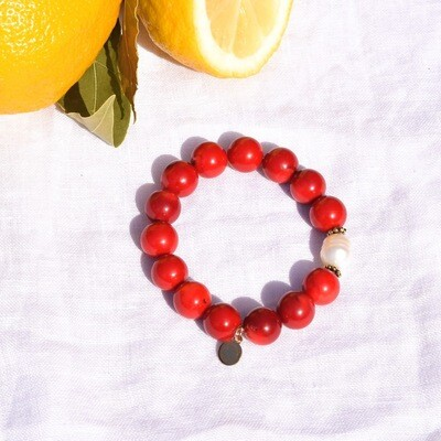 Red Coral with Freshwater Pearl