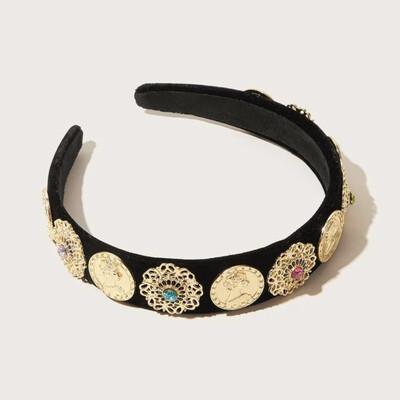 Roman Coin Black Velvet Headband