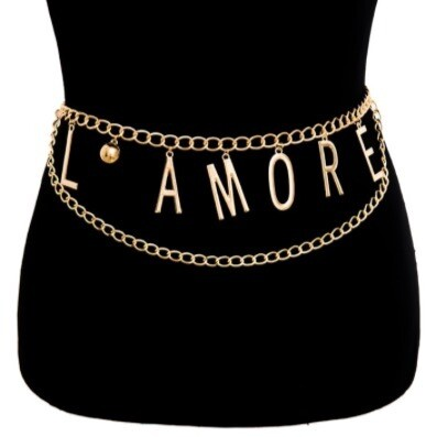 L'Amore Gold Chain Link Belt