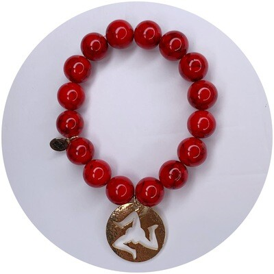Red Riverstone with Hammered Gold Trinacria Pendant