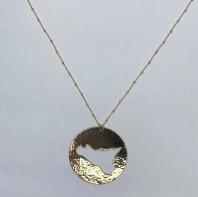 Sicily Outline Large Hammered Gold Necklace