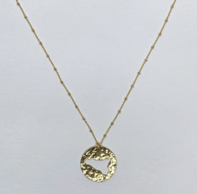 Sicily Outline Small Hammered Gold Necklace