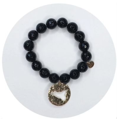Black Onyx with Hammered Gold Sicily Pendant