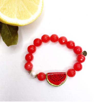 Fire Jade with Handpainted Ceramic Watermelon