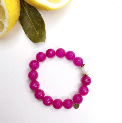 Magenta Jade with Freshwater Pearl