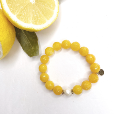 Amber Jade with Freshwater Pearl