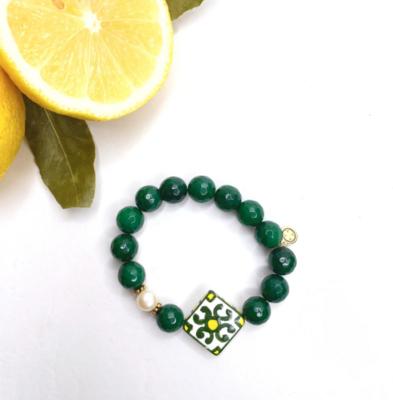 Emerald Jade with Handpainted Ceramic Tile