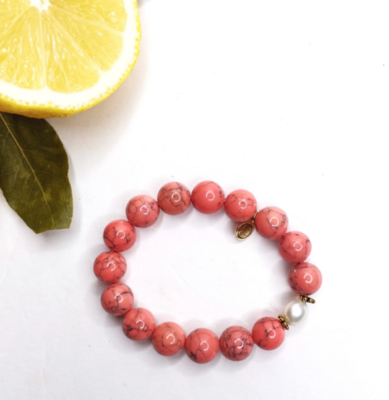Coral Pink Howlite with Freshwater Pearl