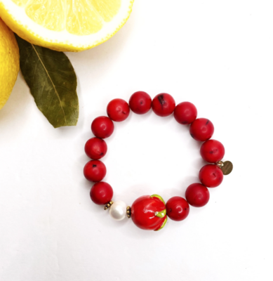 Red Coral with Handpainted Ceramic Tomato