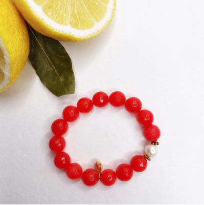 Fire Jade with Freshwater Pearl