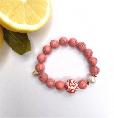 Coral Pink Howlite with Handpainted Ceramic Coral