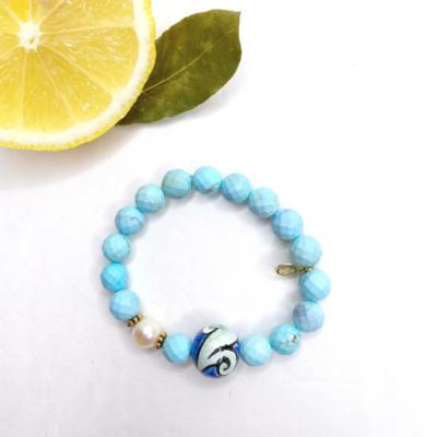 Light Turquoise Magnesite with Handpainted Ceramic Pallina
