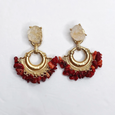 Aurora Red Coral Earring