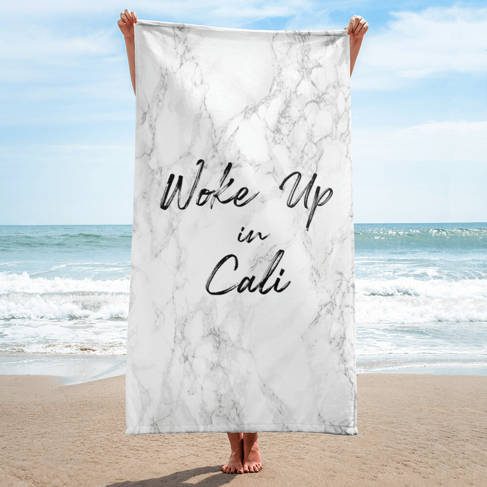 """Woke up in Cali"" Beach Towel"