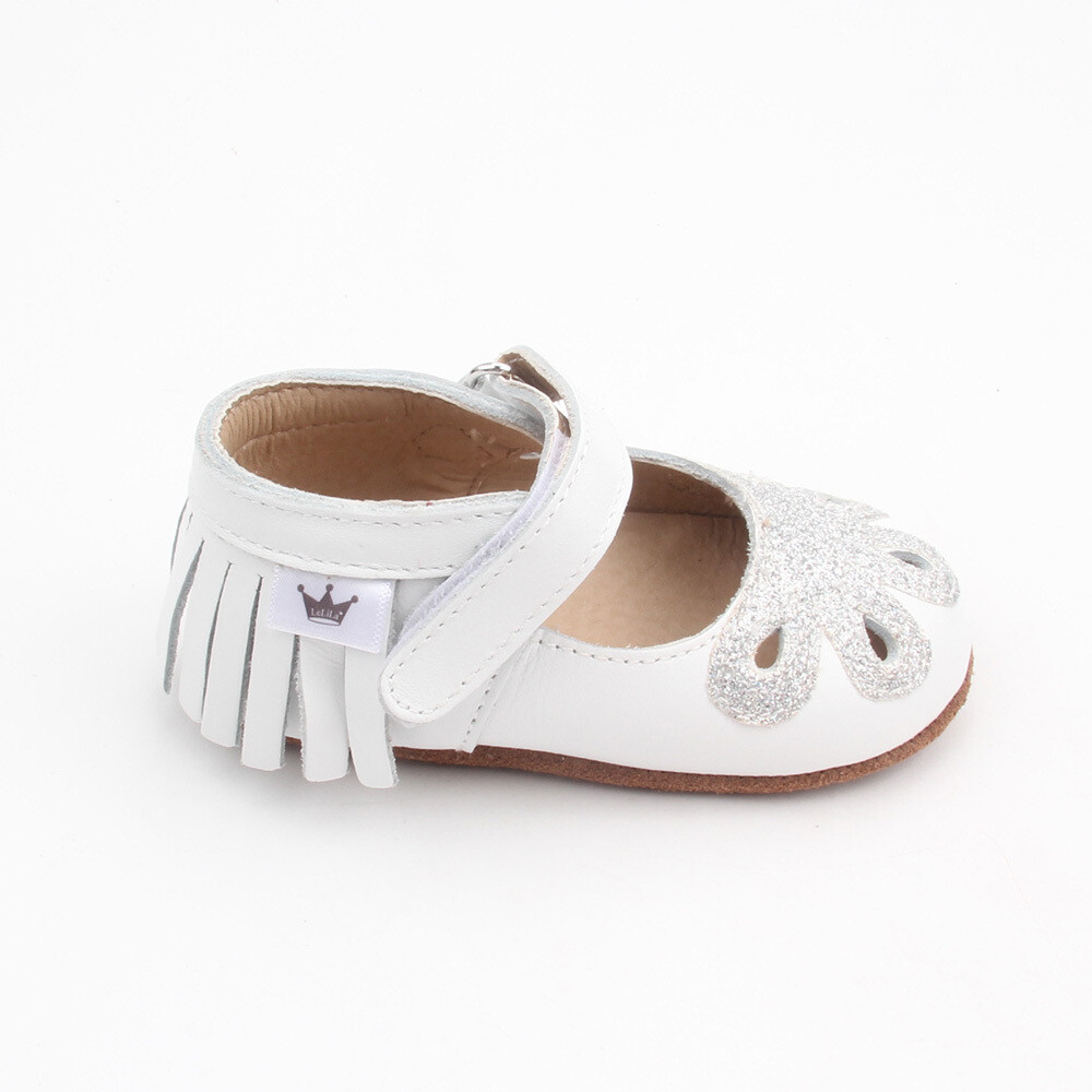 Moccasins - Mary Jane Sparkle - White