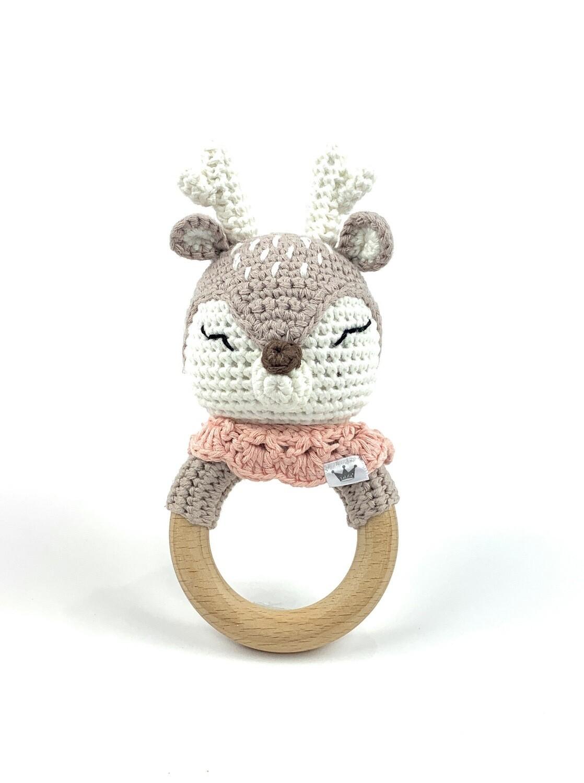 Crochet Teething Ring Rattle - Deer
