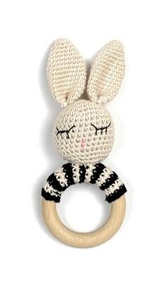 Crochet Teething Ring Rattle - Bunny Black Stripes