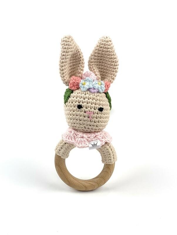 Crochet Teething Ring Rattle - Bunny Flower Headband